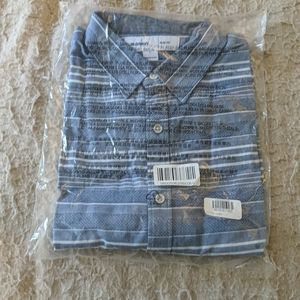 Slim Short Sleeve Indigo Blue Stripe Shirt Old